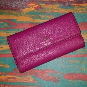 Kate Spade Purple Pebbled Leather Wallet Clutch